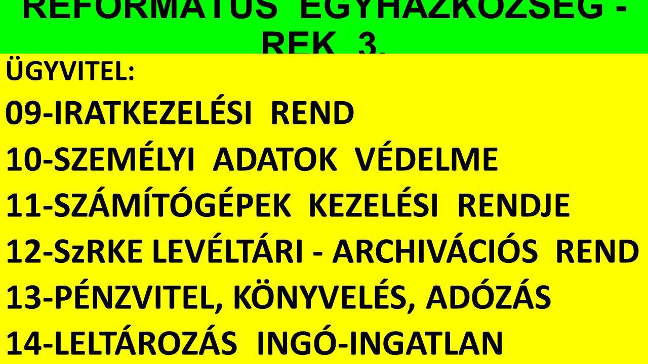 REFORMÁTUS EGYHÁZKÖZSÉG - REK 3.