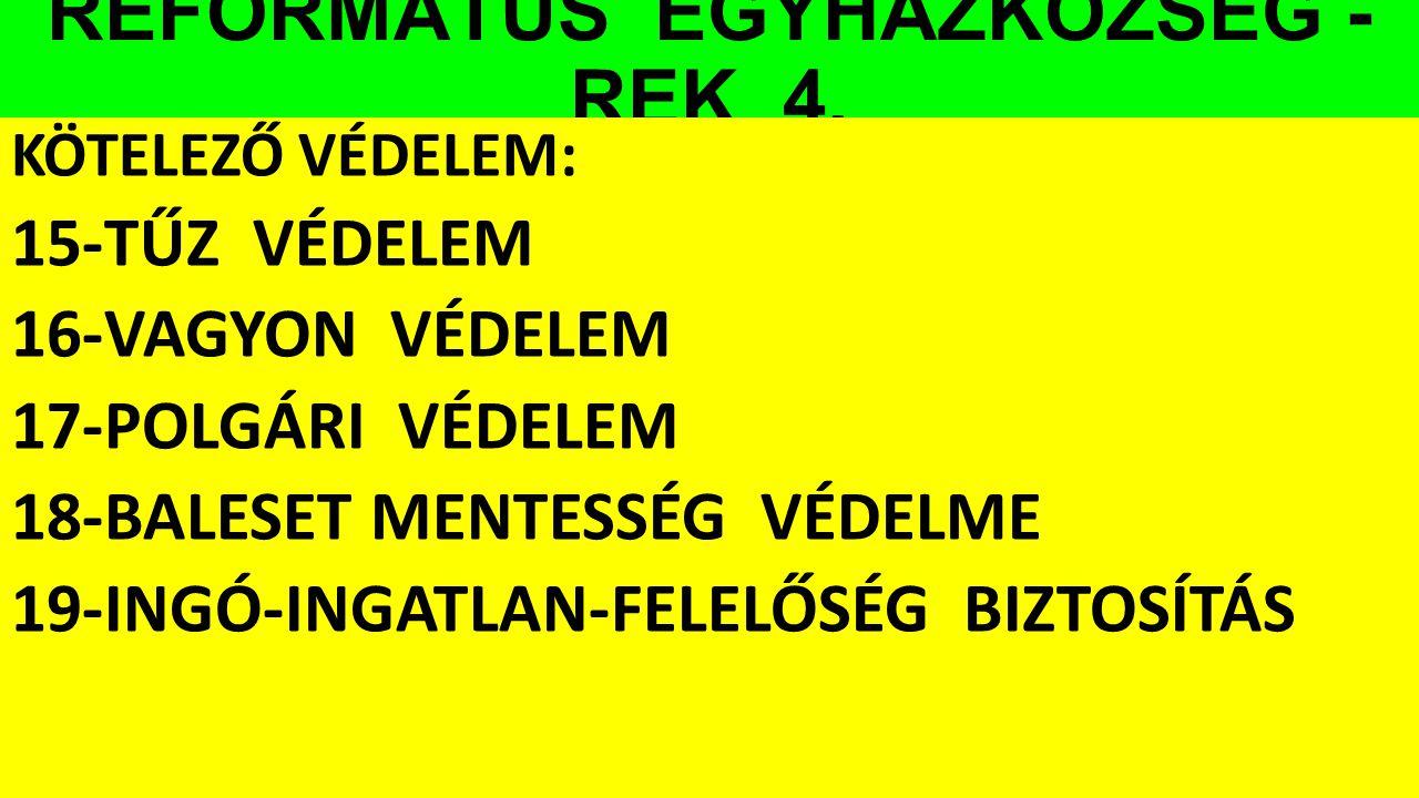 REFORMÁTUS EGYHÁZKÖZSÉG - REK 4.