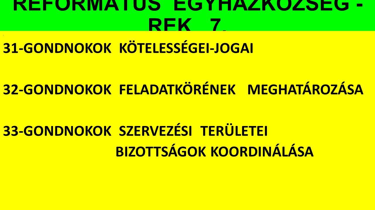 REFORMÁTUS EGYHÁZKÖZSÉG - REK 7.