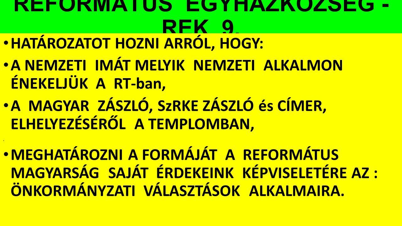 REFORMÁTUS EGYHÁZKÖZSÉG - REK 9.