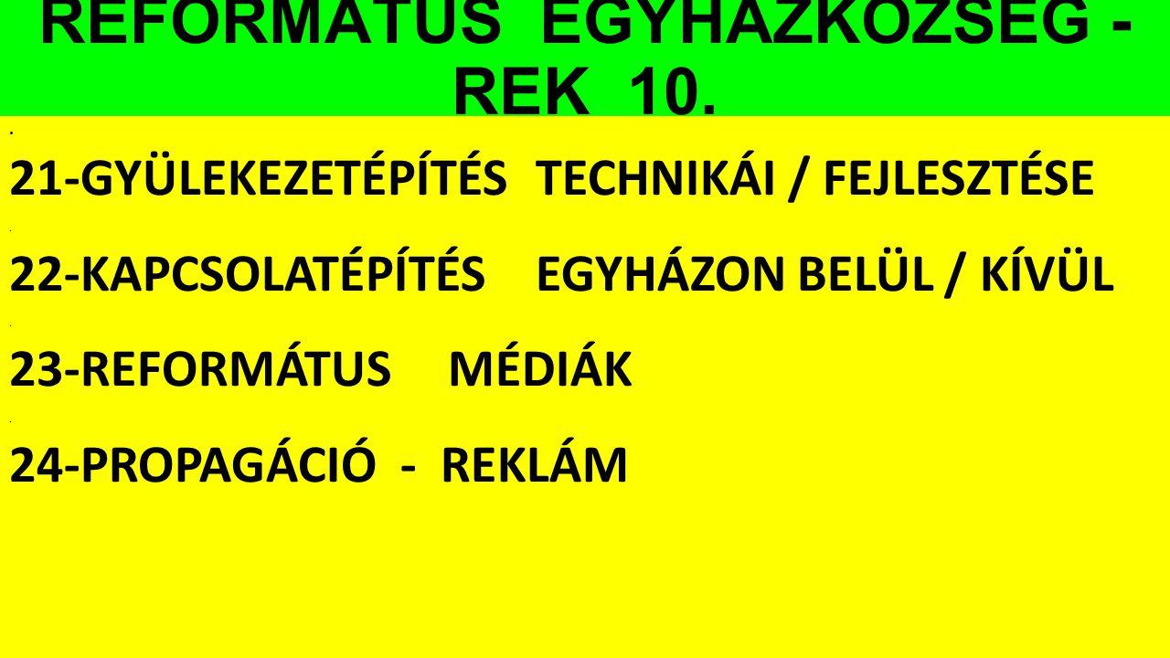 REFORMÁTUS EGYHÁZKÖZSÉG - REK 10.