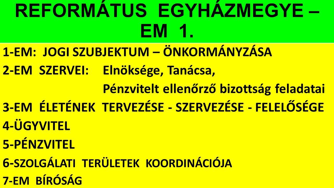 REFORMÁTUS EGYHÁZMEGYE – EM 1.