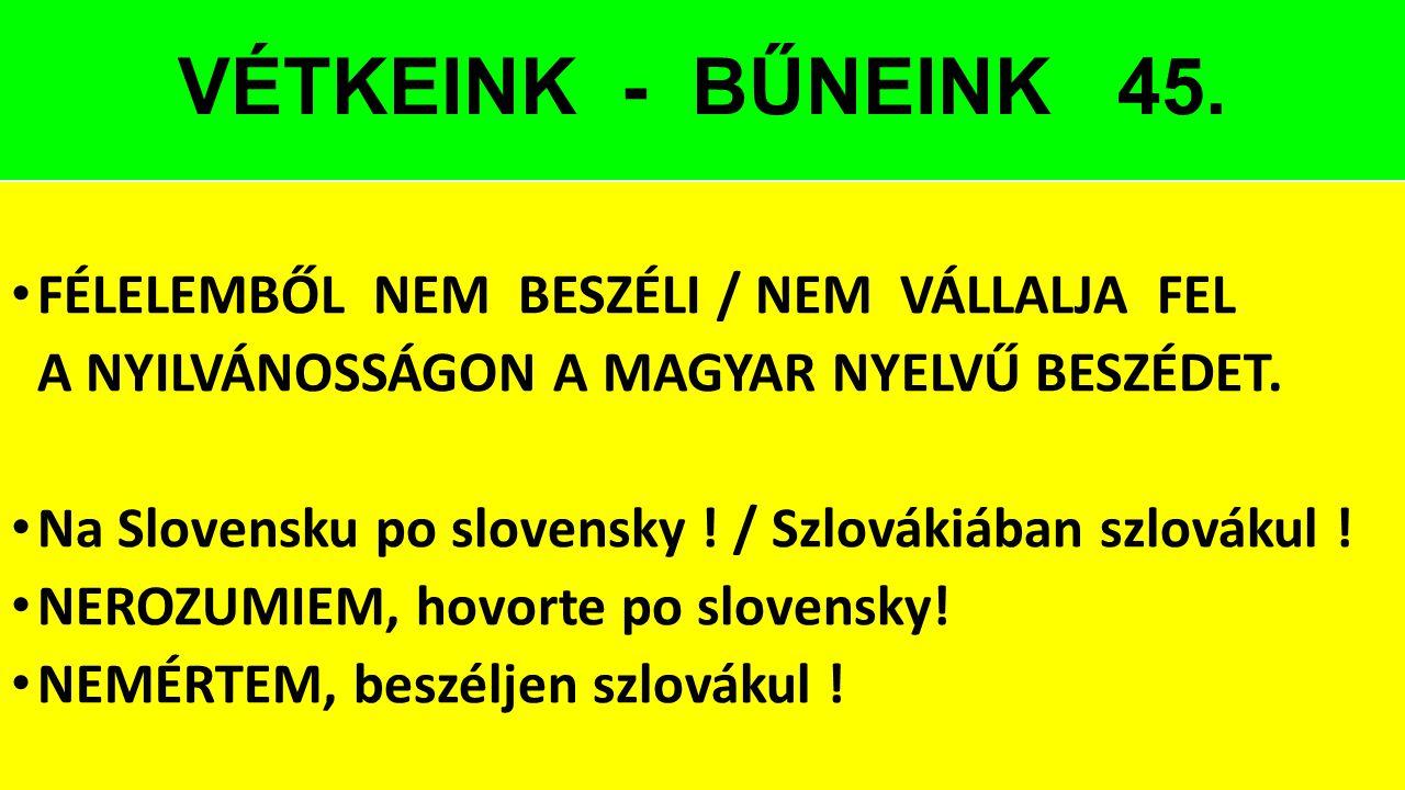 VÉTKEINK - BŰNEINK 45. FÉLELEMBŐL NEM BESZÉLI / NEM VÁLLALJA FEL