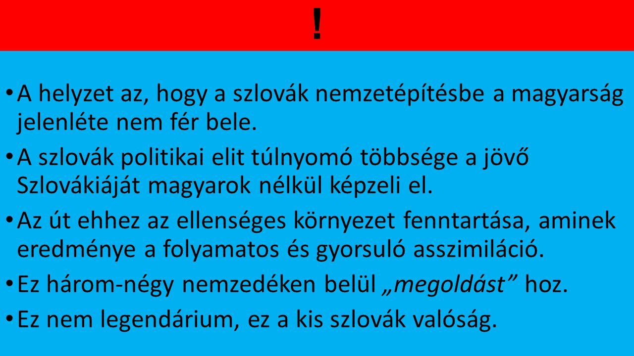 ! A helyzet az, hogy a szlovák nemzetépítésbe a magyarság jelenléte nem fér bele.