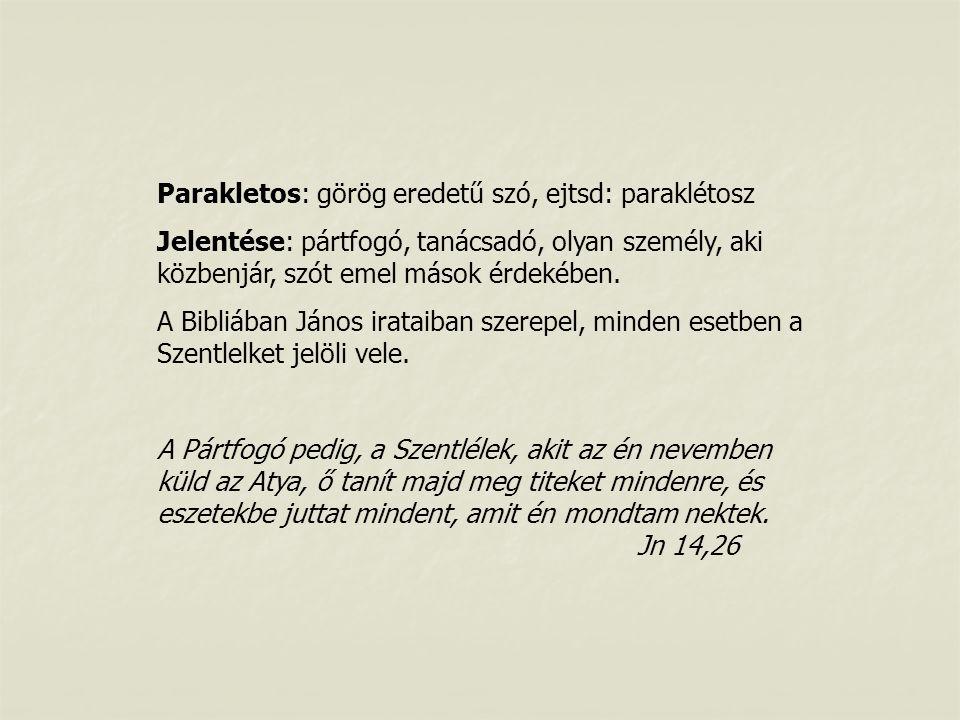 Parakletos: görög eredetű szó, ejtsd: paraklétosz