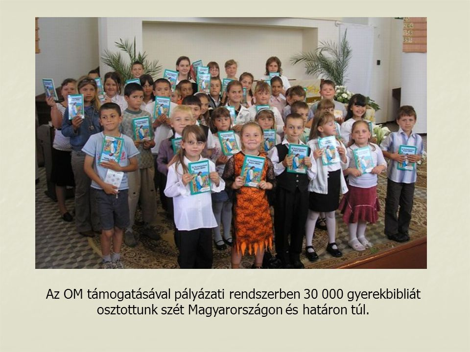 Az OM támogatásával pályázati rendszerben 30 000 gyerekbibliát osztottunk szét Magyarországon és határon túl.