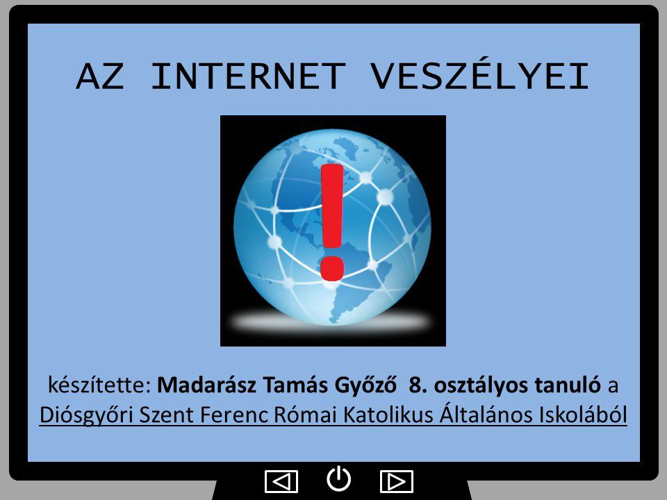 AZ INTERNET VESZÉLYEI készítette: Madarász Tamás Győző 8.