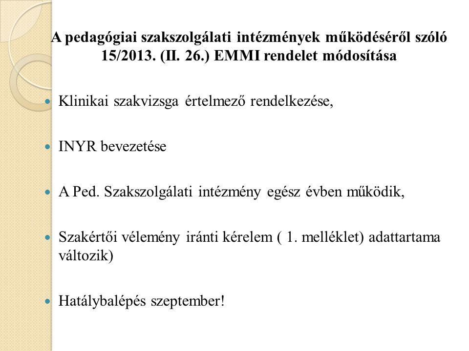 A pedagógiai szakszolgálati intézmények működéséről szóló 15/2013. (II