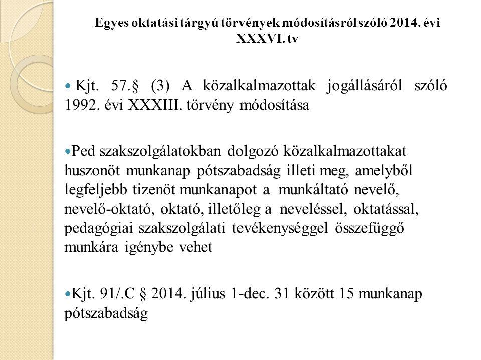 Egyes oktatási tárgyú törvények módosításról szóló 2014. évi XXXVI. tv