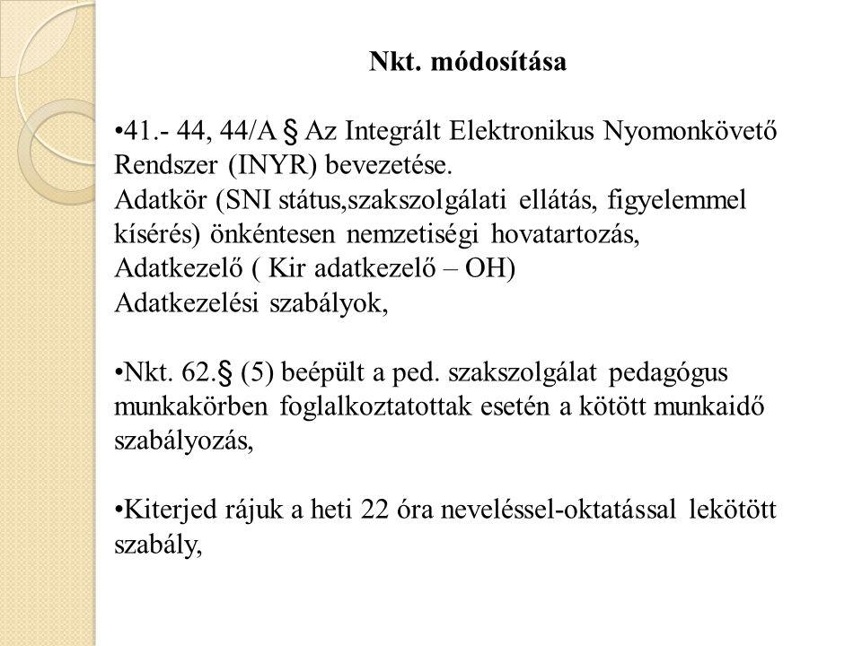 Nkt. módosítása 41.- 44, 44/A § Az Integrált Elektronikus Nyomonkövető Rendszer (INYR) bevezetése.