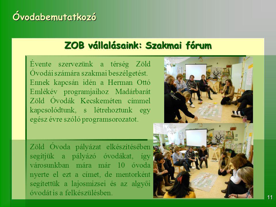 ZOB vállalásaink: Szakmai fórum