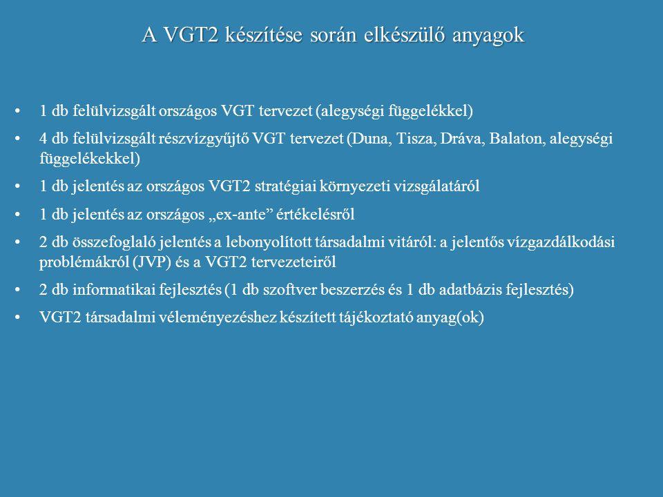 A VGT2 készítése során elkészülő anyagok