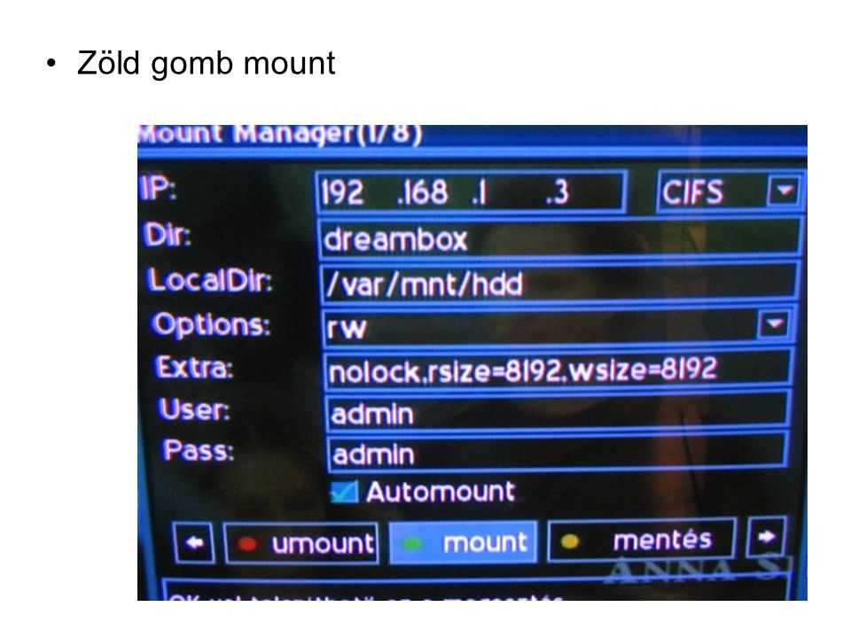 Zöld gomb mount
