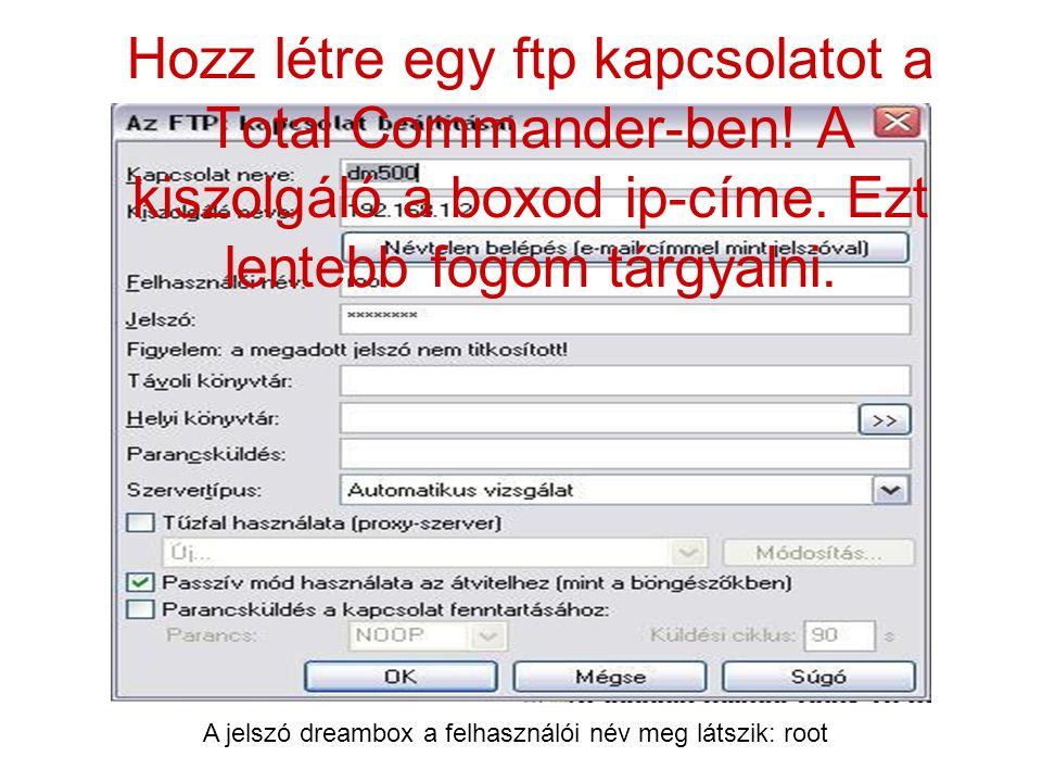 Hozz létre egy ftp kapcsolatot a Total Commander-ben