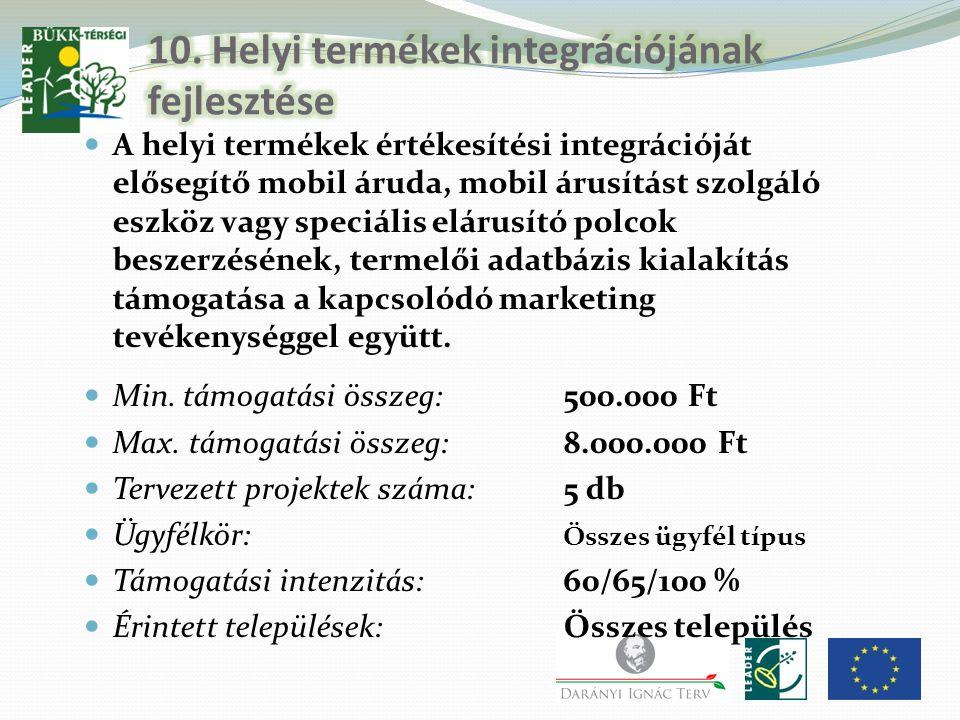 10. Helyi termékek integrációjának fejlesztése