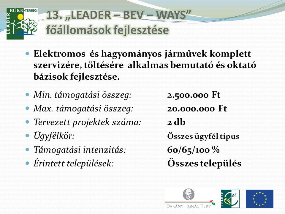 """13. """"LEADER – BEV – WAYS főállomások fejlesztése"""