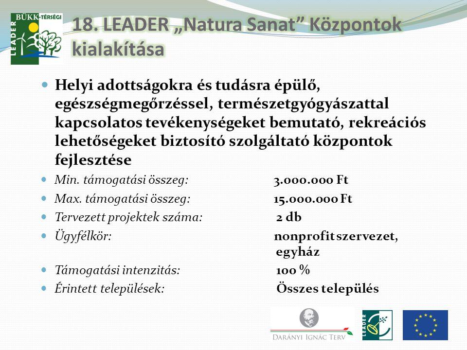 """18. LEADER """"Natura Sanat Központok kialakítása"""