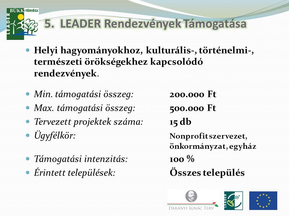 5. LEADER Rendezvények Támogatása