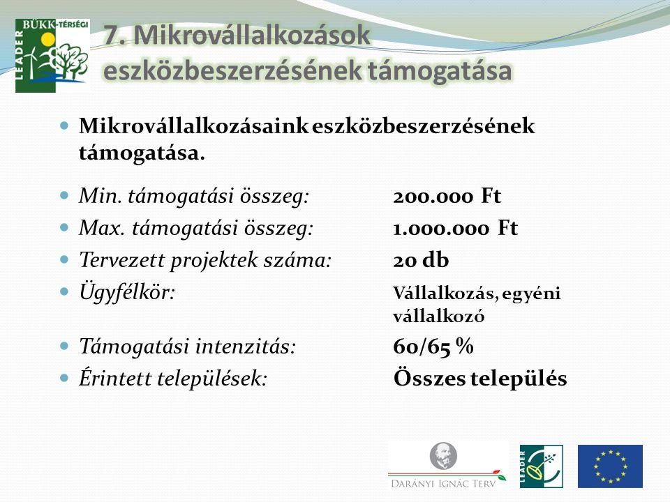 7. Mikrovállalkozások eszközbeszerzésének támogatása