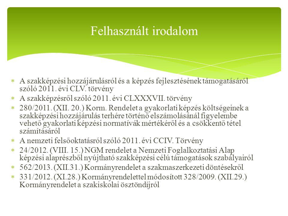 Felhasznált irodalom A szakképzési hozzájárulásról és a képzés fejlesztésének támogatásáról szóló 2011. évi CLV. törvény.