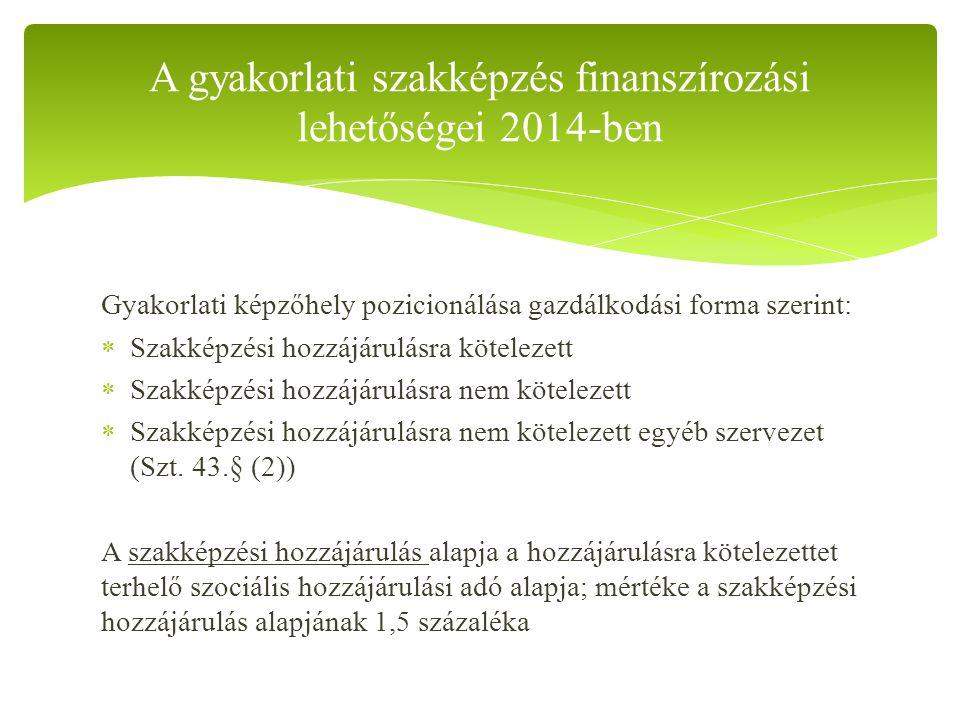 A gyakorlati szakképzés finanszírozási lehetőségei 2014-ben