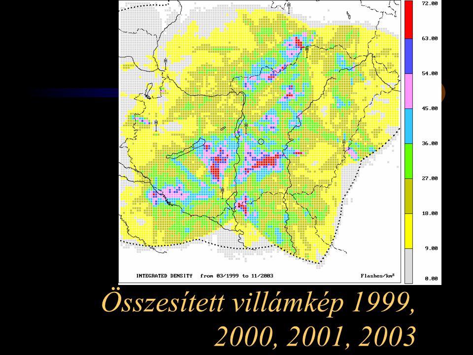 Összesített villámkép 1999, 2000, 2001, 2003