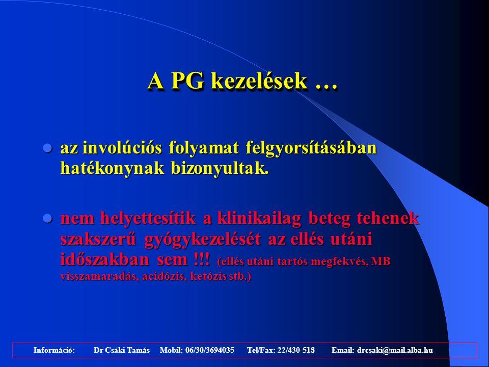 A PG kezelések … az involúciós folyamat felgyorsításában hatékonynak bizonyultak.