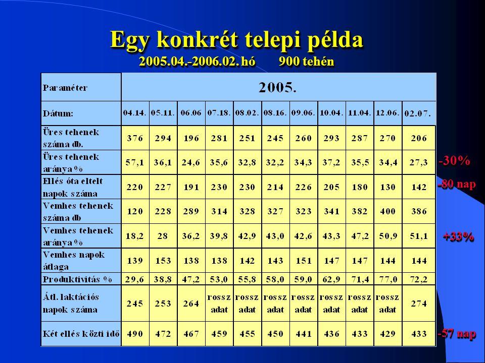 Egy konkrét telepi példa 2005.04.-2006.02. hó 900 tehén