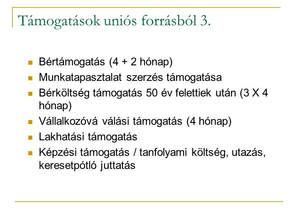 Támogatások uniós forrásból 3.
