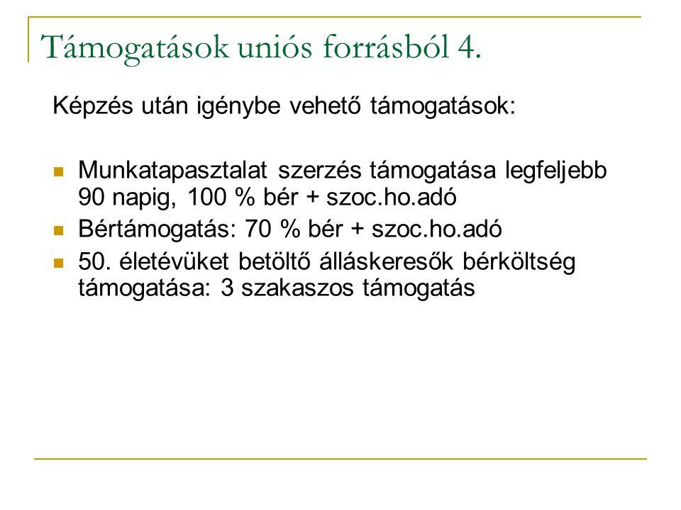 Támogatások uniós forrásból 4.