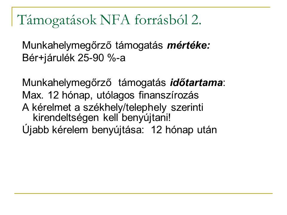 Támogatások NFA forrásból 2.