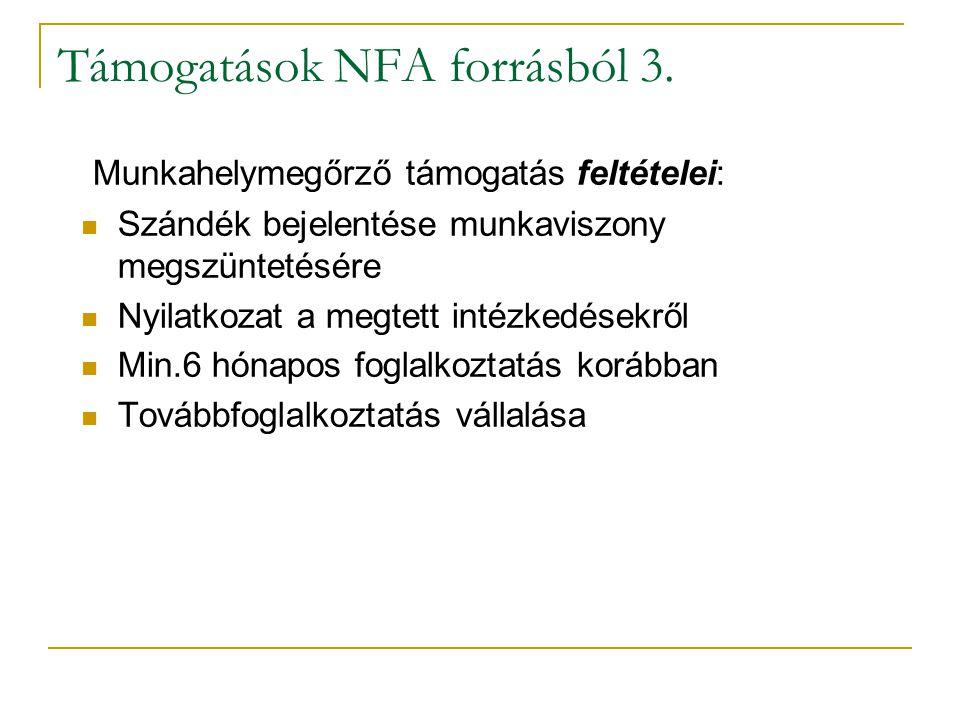 Támogatások NFA forrásból 3.