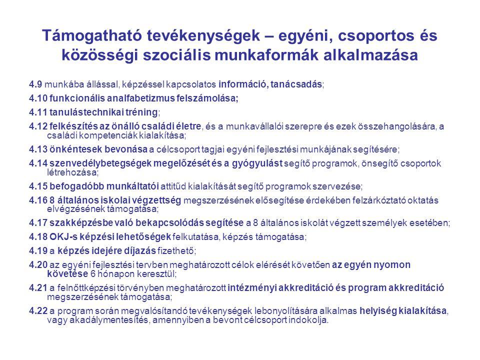 Támogatható tevékenységek – egyéni, csoportos és közösségi szociális munkaformák alkalmazása