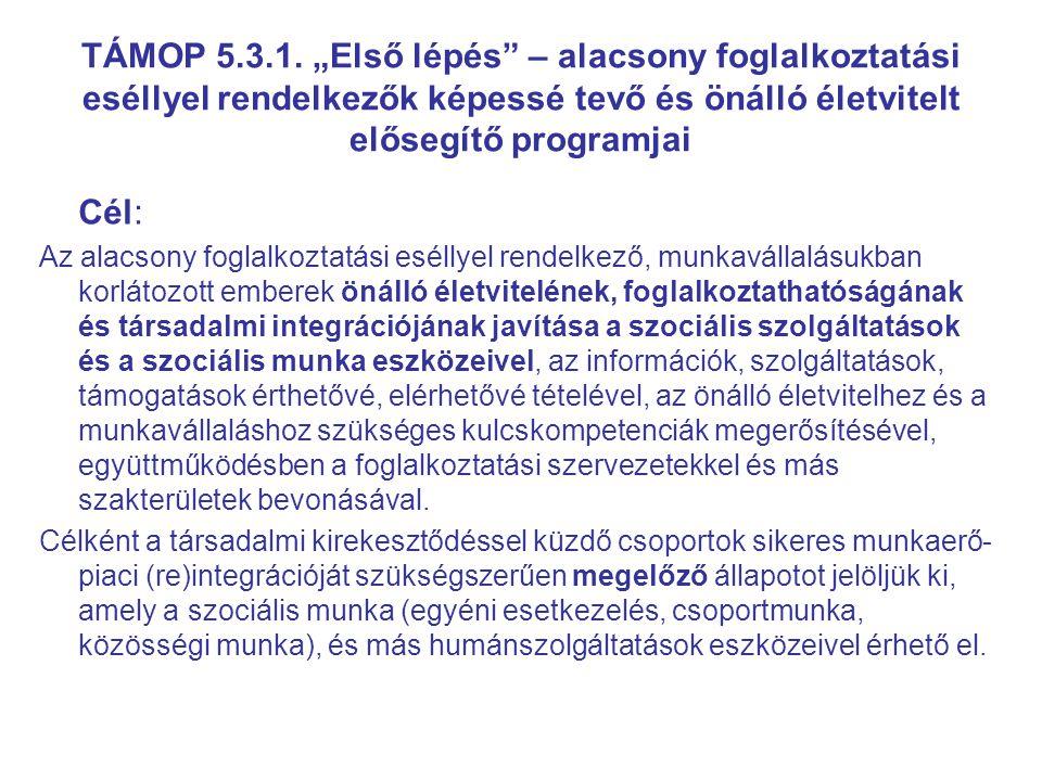 """TÁMOP 5.3.1. """"Első lépés – alacsony foglalkoztatási eséllyel rendelkezők képessé tevő és önálló életvitelt elősegítő programjai"""