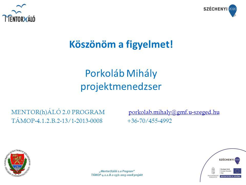 Köszönöm a figyelmet! Porkoláb Mihály projektmenedzser
