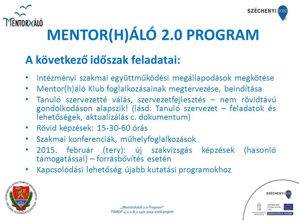 MENTOR(H)ÁLÓ 2.0 PROGRAM A következő időszak feladatai:
