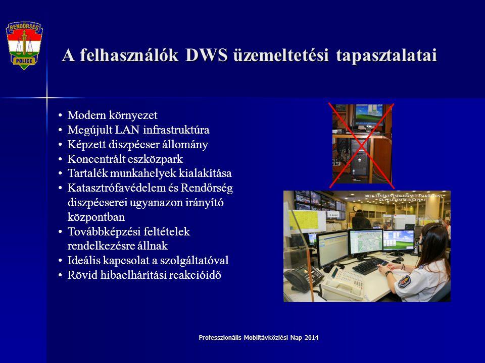 A felhasználók DWS üzemeltetési tapasztalatai