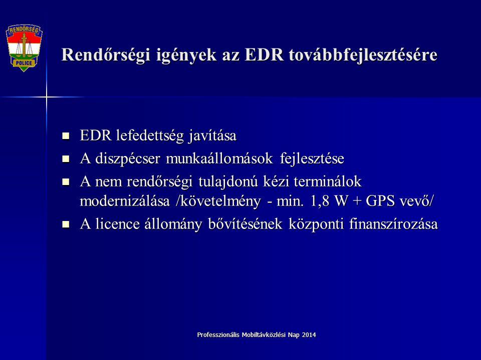 Rendőrségi igények az EDR továbbfejlesztésére