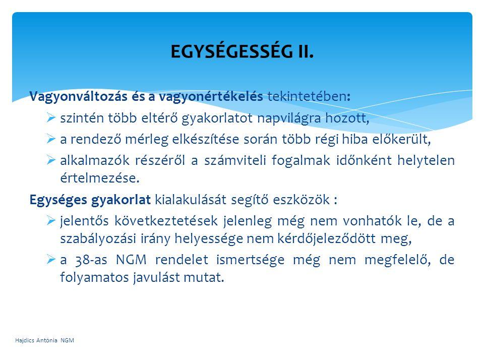 EGYSÉGESSÉG II. Vagyonváltozás és a vagyonértékelés tekintetében: