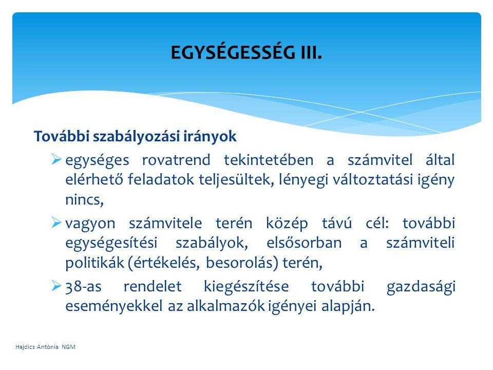 EGYSÉGESSÉG III. További szabályozási irányok