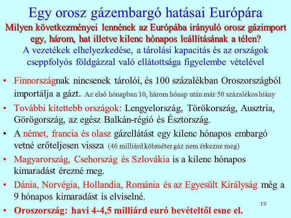 Egy orosz gázembargó hatásai Európára Milyen következményei lennének az Európába irányuló orosz gázimport egy, három, hat illetve kilenc hónapos leállításának a télen A vezetékek elhelyezkedése, a tárolási kapacitás és az országok cseppfolyós földgázzal való ellátottsága figyelembe vételével