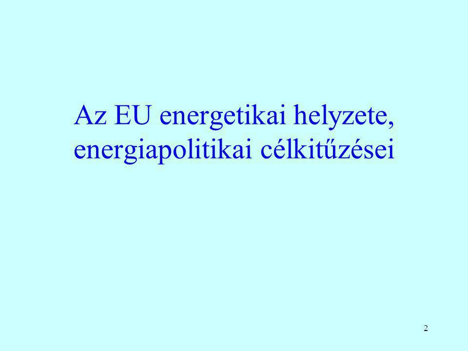 Az EU energetikai helyzete, energiapolitikai célkitűzései