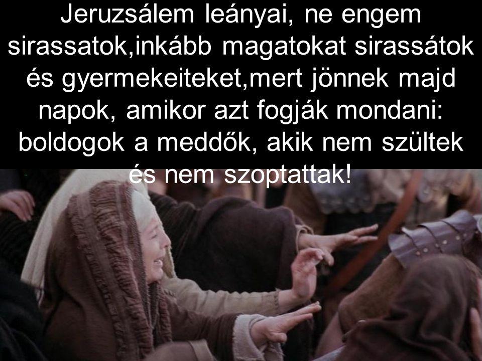Jeruzsálem leányai, ne engem sirassatok,inkább magatokat sirassátok és gyermekeiteket,mert jönnek majd napok, amikor azt fogják mondani: boldogok a meddők, akik nem szültek és nem szoptattak!