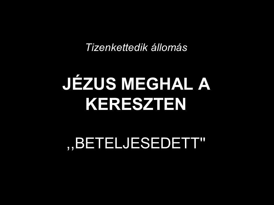 Tizenkettedik állomás JÉZUS MEGHAL A KERESZTEN ,,BETELJESEDETT