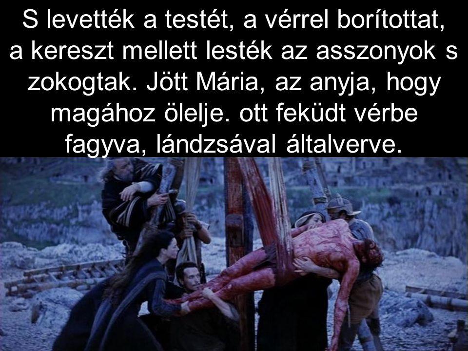 S levették a testét, a vérrel borítottat, a kereszt mellett lesték az asszonyok s zokogtak.