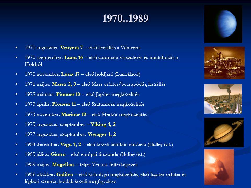 1970..1989 1970 augusztus: Venyera 7 – első leszállás a Vénuszra