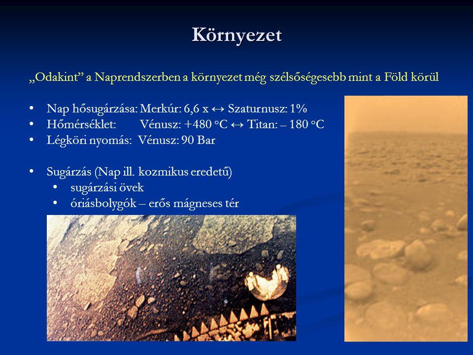 """Környezet """"Odakint a Naprendszerben a környezet még szélsőségesebb mint a Föld körül. Nap hősugárzása: Merkúr: 6,6 x ↔ Szaturnusz: 1%"""