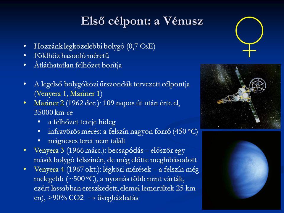 Első célpont: a Vénusz Hozzánk legközelebbi bolygó (0,7 CsE)