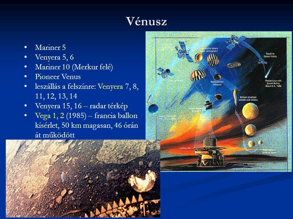 Vénusz Mariner 5 Venyera 5, 6 Mariner 10 (Merkur felé) Pioneer Venus