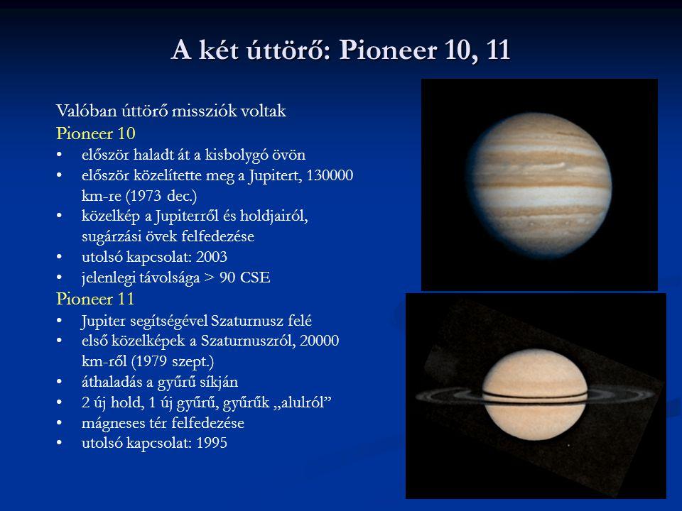 A két úttörő: Pioneer 10, 11 Valóban úttörő missziók voltak Pioneer 10
